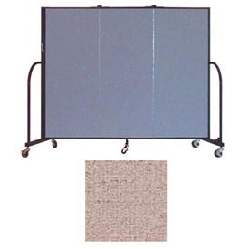 "Screenflex 3 Panel Portable Room Divider, 5'H x 5'9""L, Vinyl Color: Raspberry Mist"