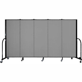 "Screenflex 5 Panel Portable Room Divider, 5'H x 9'5""L, Fabric Color: Stone"