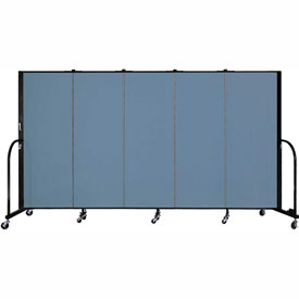 "Screenflex 5 Panel Portable Room Divider, 5'H x 9'5""L, Fabric Color: Summer Blue"