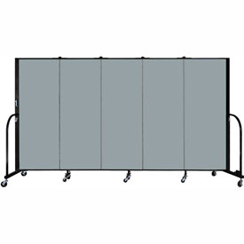 "Screenflex 5 Panel Portable Room Divider, 5'H x 9'5""L, Fabric Color: Grey Stone"
