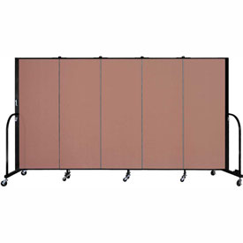 "Screenflex 5 Panel Portable Room Divider, 5'H x 9'5""L, Fabric Color: Cranberry"