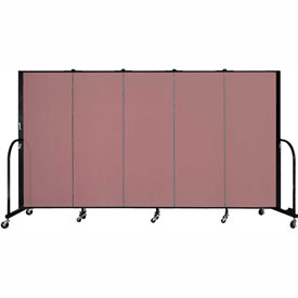 "Screenflex 5 Panel Portable Room Divider, 5'H x 9'5""L, Fabric Color: Mauve"