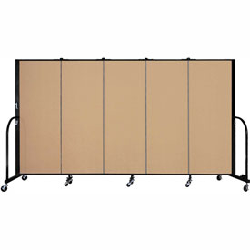 "Screenflex 5 Panel Portable Room Divider, 5'H x 9'5""L, Fabric Color: Wheat"