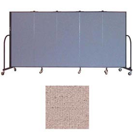 "Screenflex 5 Panel Portable Room Divider, 5'H x 9'5""L, Vinyl Color: Raspberry Mist"
