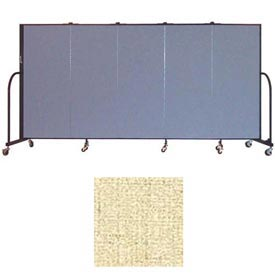 "Screenflex 5 Panel Portable Room Divider, 5'H x 9'5""L, Vinyl Color: Hazelnut"