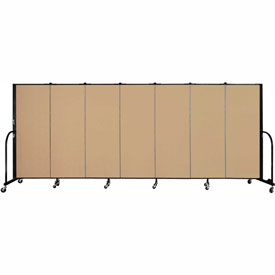 "Screenflex 7 Panel Portable Room Divider, 5'H x 13'1""L, Fabric Color: Desert"