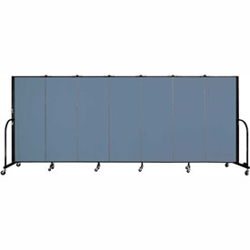 "Screenflex 7 Panel Portable Room Divider, 5'H x 13'1""L, Fabric Color: Blue"
