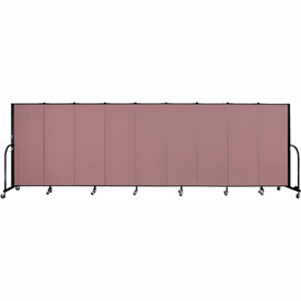 "Screenflex 9 Panel Portable Room Divider, 5'H x 16'9""L, Fabric Color: Rose"