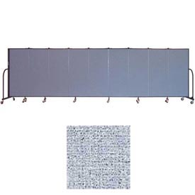 "Screenflex 9 Panel Portable Room Divider, 5'H x 16'9""L, Vinyl Color: Blue Tide"