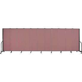 "Screenflex 11 Panel Portable Room Divider, 6'H x 20'5""L, Fabric Color: Mauve"