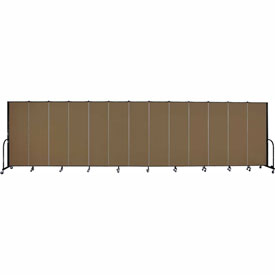 "Screenflex 13 Panel Portable Room Divider, 6'H x 24'1""L, Fabric Color: Walnut"