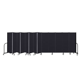 "Screenflex 13 Panel Portable Room Divider, 6'H x 24'1""L, Fabric Color: Charcoal Black"