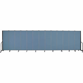 "Screenflex 13 Panel Portable Room Divider, 6'H x 24'1""L, Fabric Color: Blue"