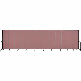 "Screenflex 13 Panel Portable Room Divider, 6'H x 24'1""L, Fabric Color: Mauve"