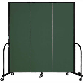 "Screenflex 3 Panel Portable Room Divider, 6'H x 5'9""L, Fabric Color: Mallard"