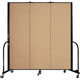 "Screenflex 3 Panel Portable Room Divider, 6'H x 5'9""L, Fabric Color: Desert"