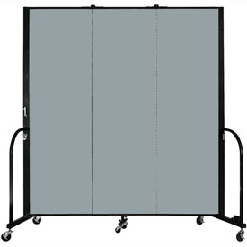 "Screenflex 3 Panel Portable Room Divider, 6'H x 5'9""L, Fabric Color: Grey Stone"