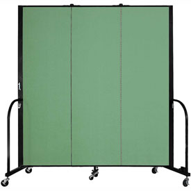"Screenflex 3 Panel Portable Room Divider, 6'H x 5'9""L, Fabric Color: Sea Green"