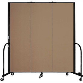 "Screenflex 3 Panel Portable Room Divider, 6'H x 5'9""L, Fabric Color: Beech"