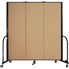 "Screenflex Portable Room Divider - 3 Panel - 6'H x 5'9""L -  Sand"