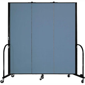 "Screenflex 3 Panel Portable Room Divider, 6'H x 5'9""L, Fabric Color: Blue"