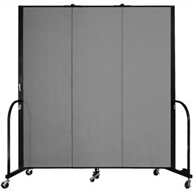 "Screenflex Portable Room Divider - 3 Panel - 6'H x 5'9""L -  Grey"