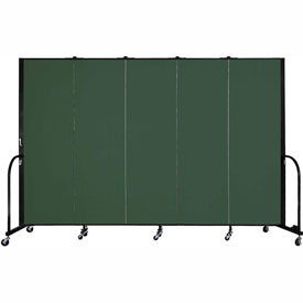 "Screenflex 5 Panel Portable Room Divider, 6'H x 9'5""L, Fabric Color: Mallard"