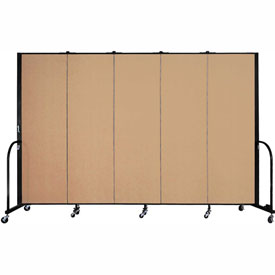 "Screenflex Portable Room Divider - 5 Panel - 6'H x 9'5""L -  Desert"