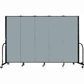 "Screenflex Portable Room Divider - 5 Panel - 6'H x 9'5""L -  Grey Stone"