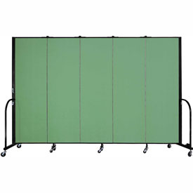 "Screenflex 5 Panel Portable Room Divider, 6'H x 9'5""L, Fabric Color: Sea Green"