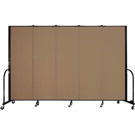 "Screenflex 5 Panel Portable Room Divider, 6'H x 9'5""L, Fabric Color: Beech"