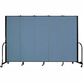"Screenflex 5 Panel Portable Room Divider, 6'H x 9'5""L, Fabric Color: Blue"