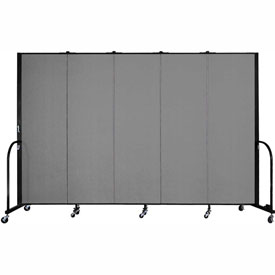 "Screenflex 5 Panel Portable Room Divider, 6'H x 9'5""L, Fabric Color: Grey"