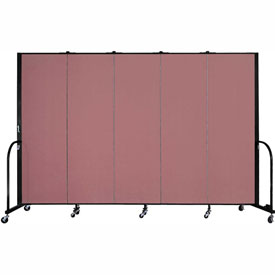 "Screenflex Portable Room Divider - 5 Panel - 6'H x 9'5""L -  Mauve"