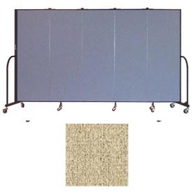 "Screenflex 5 Panel Portable Room Divider, 6'H x 9'5""L, Vinyl Color: Sandalwood"