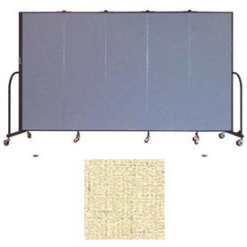 "Screenflex 5 Panel Portable Room Divider, 6'H x 9'5""L, Vinyl Color: Hazelnut"
