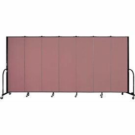 "Screenflex Portable Room Divider - 7 Panel - 6'H x 13'1""L - Mauve"