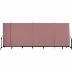 "Screenflex Portable Room Divider - 9 Panel - 6'H x 16'9""L - Rose"