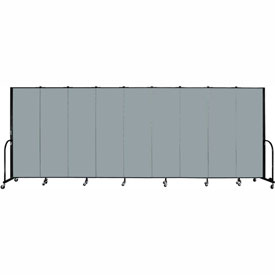"Screenflex 9 Panel Portable Room Divider, 6'H x 16'9""L, Fabric Color: Grey Stone"