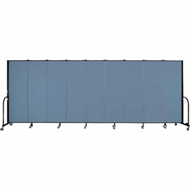 "Screenflex 9 Panel Portable Room Divider, 6'H x 16'9""L, Fabric Color: Blue"