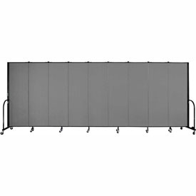 "Screenflex Portable Room Divider - 9 Panel - 6'H x 16'9""L - Grey"