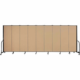 "Screenflex 9 Panel Portable Room Divider, 6'H x 16'9""L, Fabric Color: Wheat"