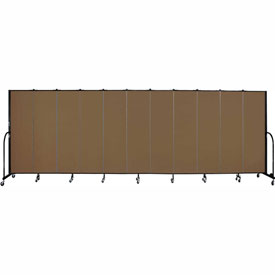 "Screenflex 11 Panel Portable Room Divider, 6'8""H x 20'5""L, Fabric Color: Walnut"
