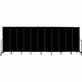 "Screenflex 11 Panel Portable Room Divider, 6'8""H x 20'5""L, Fabric Color: Charcoal Black"