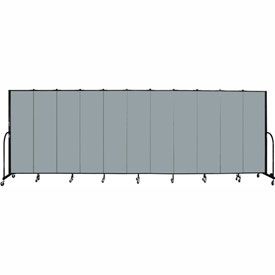 "Screenflex 11 Panel Portable Room Divider, 6'8""H x 20'5""L, Fabric Color: Grey Stone"
