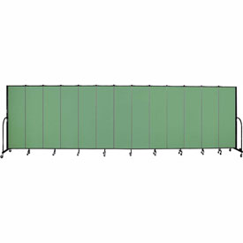 "Screenflex 13 Panel Portable Room Divider, 6'8""H x 24'1""L, Fabric Color: Sea Green"