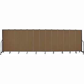 "Screenflex 13 Panel Portable Room Divider, 6'8""H x 24'1""L, Fabric Color: Oatmeal"