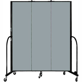 "Screenflex 3 Panel Portable Room Divider, 6'8""H x 5'9""L, Fabric Color: Grey Stone"