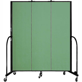 "Screenflex 3 Panel Portable Room Divider, 6'8""H x 5'9""L, Fabric Color: Sea Green"