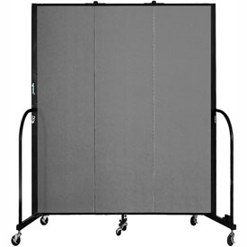 "Screenflex 3 Panel Portable Room Divider, 6'8""H x 5'9""L, Fabric Color: Grey"